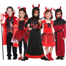 Umorden Scary Red Horn Devil Devilkin Costumes for Kids Child Boys Girls Demon Costume Cosplay Fancy Dress Robe Halloween