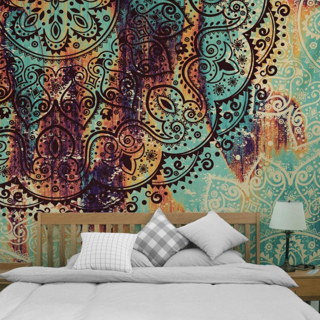 Bohemia Beach Blanket Bed Sheets Indian Tapestry Colored Printed Decor Religious Boho Wall Carpet in Tapestry from Home Garden