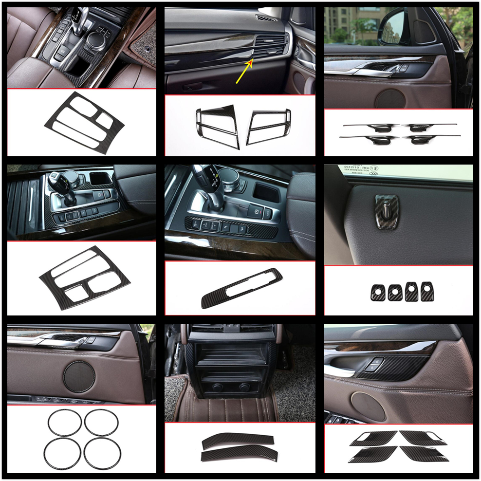 Carbon Fiber Style Abs Interior Center Cover Trim Car Accessoriesor For BMW X5 F15 2014 2015 2016 2017 2018 Car-styling