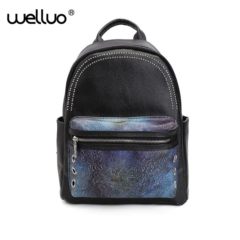 цены на Vintage Pu Leather Backpacks Women Patchwork Panelled Rivet Stone Pattern Backpack School Teenage Girls Shoulder Bags XA158WB в интернет-магазинах