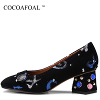 COCOAFOAL Woman Wedding Pumps Blue Red Pearl Sexy High Heels Shoes Plus Size 34 43 Party
