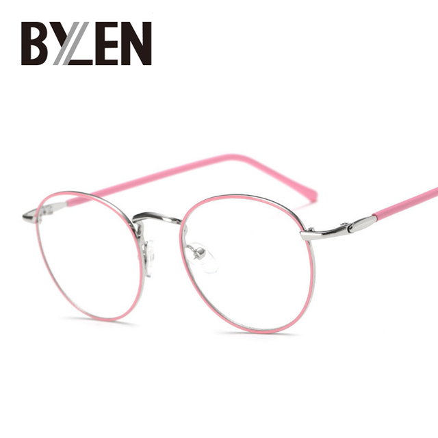 59e3391a309 BYLEN Vintage Round Glasses Frames Small Thin Rim Fashion Metal Optical  Prescription Eeyglasses Myopia Clear lens Glasses Frame