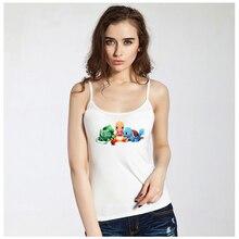 Summer Fashion Womens Sexy Tank Camisole Tops Cute Cartoon Pokemon Charmander Bulbasaur Squirtle Pokeball Girls Slim Camis Tops