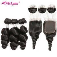 Mslynn paquets de vague lâche avec fermeture brésilienne 3 paquets avec fermeture à lacet Remy paquets de cheveux humains avec fermeture Extension de cheveux
