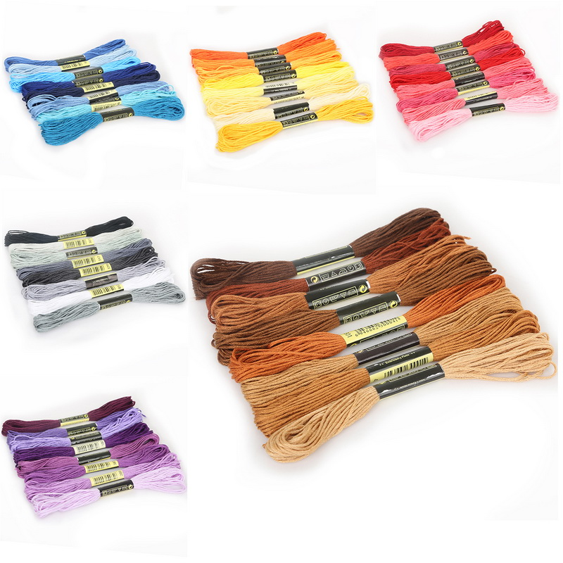 8pcs//set DMC Cross Stitch Cotton Embroidery Thread DIY Sewing Skeins Floss Craft