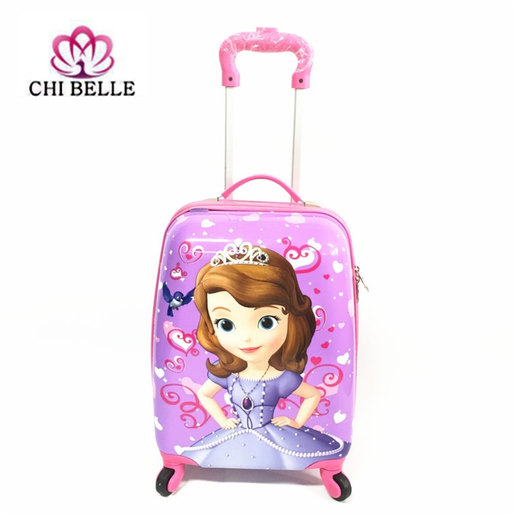 18-inch children luggage suitcase, boys and girls princess ABS cartoon tie rod suitcase  ...