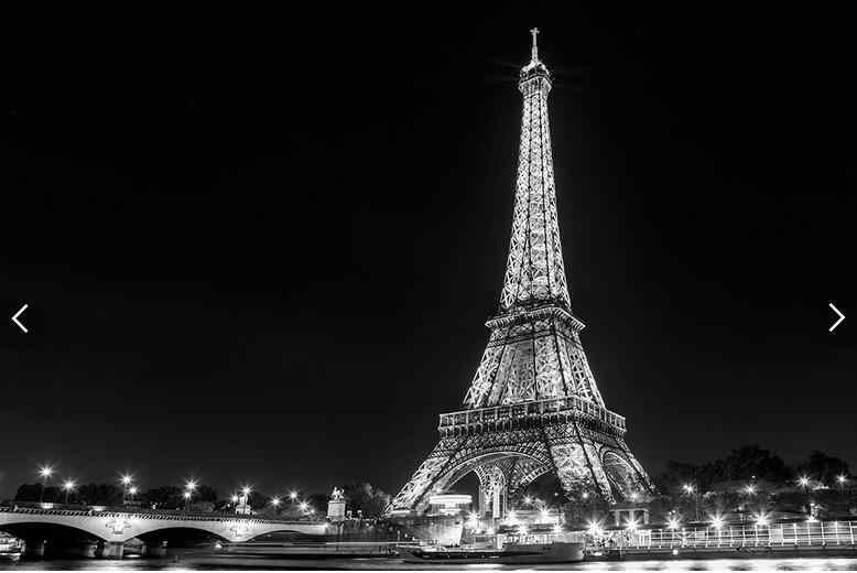 Kustom foto wallpaper hitam dan putih Menara Eiffel lukisan dinding untuk ruang tamu kamar tidur TV.jpg q50
