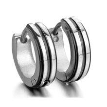 Stainless steel stud plugs hoop earrings ear studs silver black strip unique men
