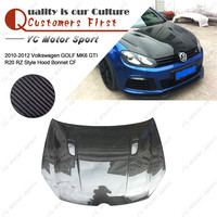 Car Accessories Carbon Fiber RZ Style Hood Bonnet Fit For 2010 2012 GOLF MK6 GTI R20 Hood Cover Car styling