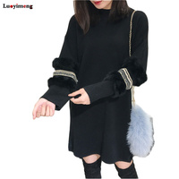 Luoyimeng Winter Women Pearls Sweater Dress Faux Fur Oversized Turtleneck Pullovers Korean Lolita Long Sleeves Knit Pull Jumper
