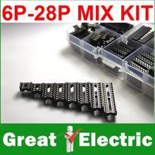 66pcs/set DIP IC Sockets Adaptor Solder Type Socket Kit 6,8,14,16,18,20,24,28 pins Free Shipping CGKCH050(China (Mainland))