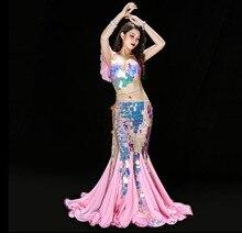 2019 חדש נסיכת Fishtail תלבושות בלינג בלינג נצנצים ברק צוות ריקוד יוקרה תלבושת חזייה ארוך חצאית ורוד