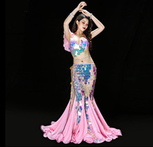 2019 New Princess Fishtail Belly Dance Performance Costume Bling Bling Sequin Shine Team Dance Luxury Outfit Bra Long Skirt Pink