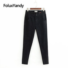 Black High Waist Jeans Women Slim Pencil Pants Denim Trousers Casual Stretch Plus Size Jeans KKFY3169 недорго, оригинальная цена