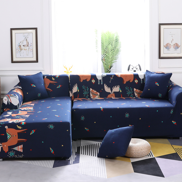 Forest Pattern Sectional Sofa Cover L Shaped Long Slipcover