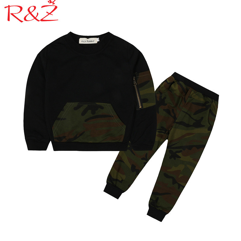 R&Z Baby Boys Clothing Set 2017 Autumn Long Sleeve Cotton Camouflage O-neck T-shirt + Pants Causl Sports 2pcs Kids Clothing Suit