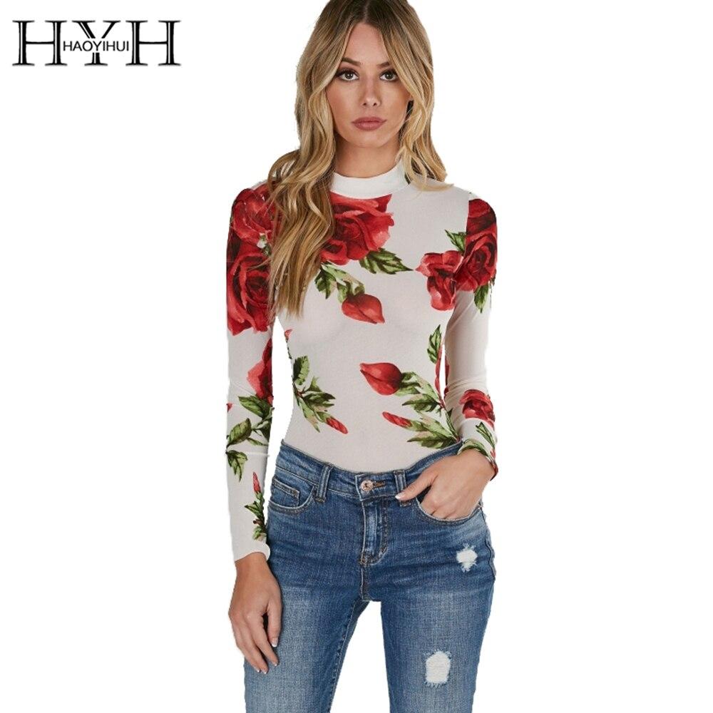 HYH HAOYIHUI Floral Print Turtleneck Bodycon   Jumpsuits   Women Long Sleeve Sexy Rose Elegant Mesh Slim Summer Female Bodysuits
