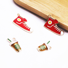 10 pcs Red Cloth Shoes Coffee Cup Enamel Charms Earring Zinc Alloy Pendant Drop Oil Finding DIY Bracelet Jewelry Accessory YZ161