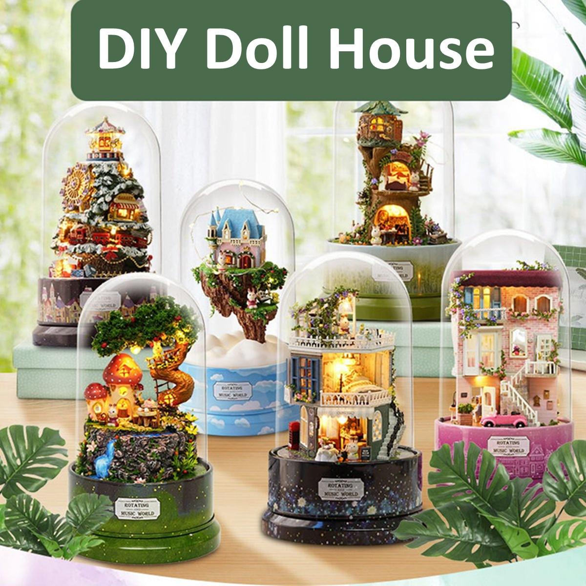 Rotating Music Box DIY Dolls House Luminous Dollhouse Musical Case Cloche Handmade Miniature Kits Christmas Gifts Kids Toy