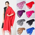 2016 Fashion Womens Winter Warm Cashmere Silk Solid Long Pashmina Shawl Wrap Scarf