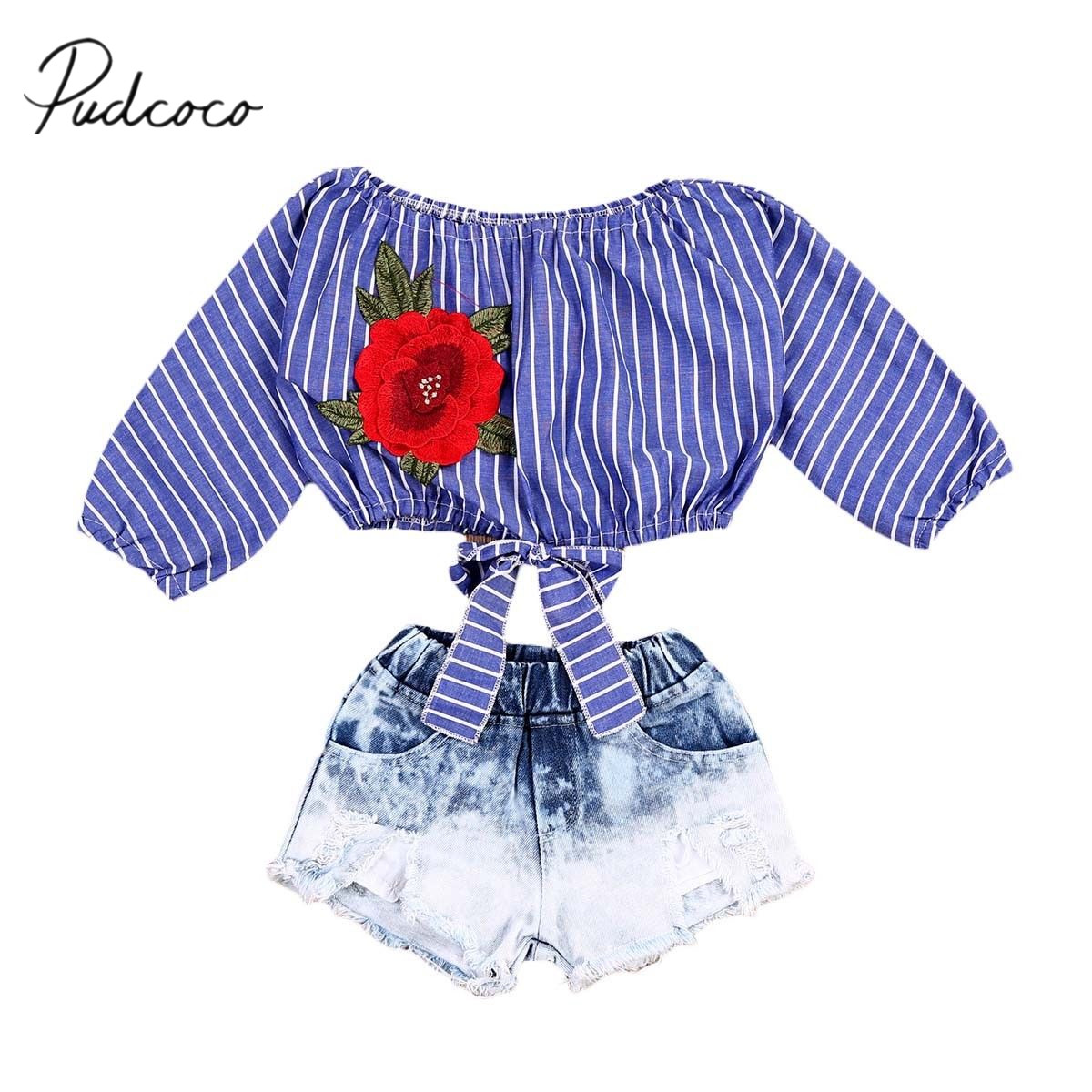 2017 Brand New Fashion Toddler Infant Kid Baby Girls Crop Tops T Shirts Denim Short Jeans Pants 2Pcs Fashion Sets Outfits 6M-5T easy guide to sewing tops and t shirts skirts and pants