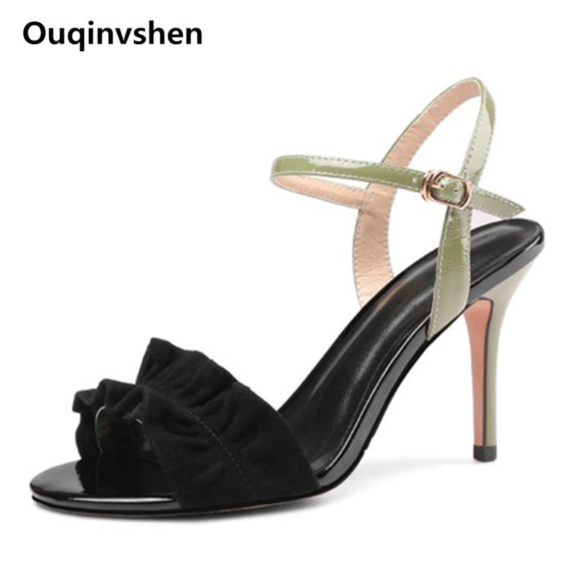 Ouqinvshen Ruffles Super High Heels Sandals Mixed Colors Thin Heel Yellow Fashion Sexy Woman Pumps Peep Toe Summer Shoes Women