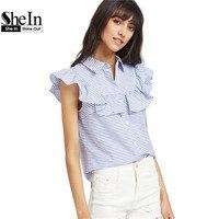 SheIn Frill Cap Sleeve Button Up Striped Blouse Cute Blue Lapel Top Women Summer Ruffle Shirt