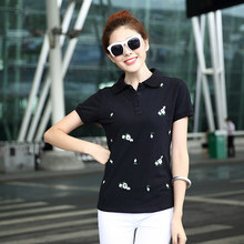 Causal Slim Short Sleeve Fashion Shirts Polo Women Plus Size Fashion Embroidery Floral Cotton polo femme cheval Ladies Polo B009