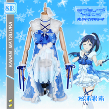 Japanese Anime Aqours love live kanan Matsuura Halloween Cosplay Costume dress for playing snow+free shipping A