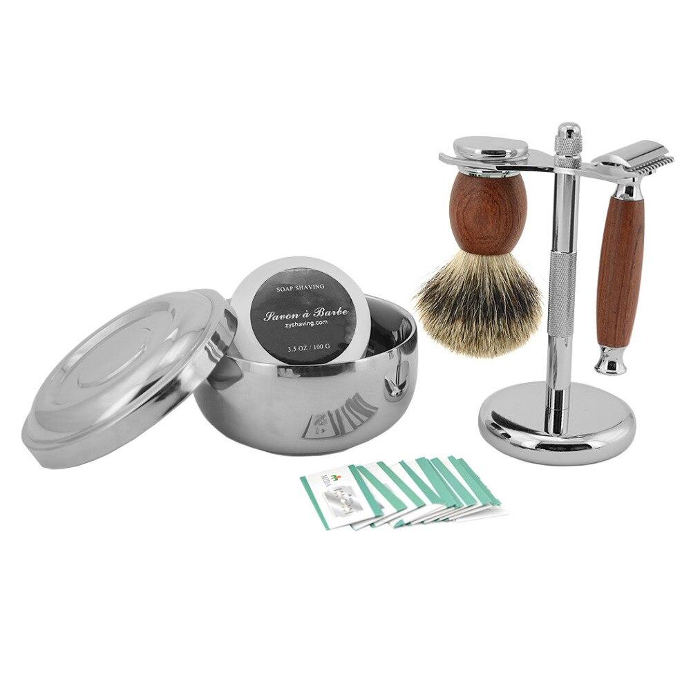 ZY Shaving Set Double Edge Safety Shaving Razor Men Badger Hair Brush Natural Wood Stand Mug Bowl Soap Kit +10 Free Blades