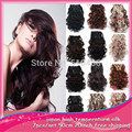 10Sets/Lot Clip In Hair Extension Wholesale Free Shipping Wavy Curly High Temperature Silk Women Synthetic Hair Extensions 999