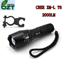 E17 CREE XM-L T6 2000Lumens Cree Led Torch Zoomable Cree LED Flashlight Torch Light For 3xAAA or 1×18650 With Bicycle Rack