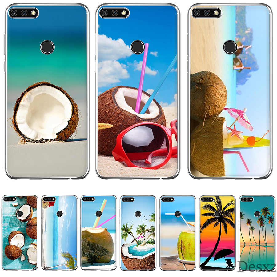 Soft Tpu Phone Case Fruit Coconut On The Beach Printing Drawing  Cover For Huawei Honor Honor 6A 7A 7X 7C 8X 8 9 10 Lite Shell