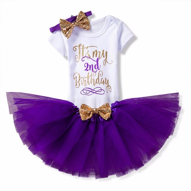 New Year Christmas Gift Baby Second 2nd Birthday Dress Outfits Sets Tutu Cake Smash Girl