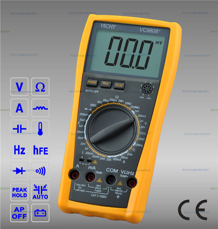 VICHY VICI VC9808+ 3 1/2 Digital multimeter Inductance Resistance Capacitance Frequency Temperature Meter Tester AC DC 3 1 2 1999 count digital lc c l meter inductance capacitance tester mastech my6243
