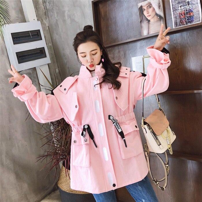 Lâche vent A787 2018 beige Capuche Casual Denim De Vêtements black Longues À Automne Yellow Veste Coupe Manches Printemps Manteau Tops Femmes pink HZYZqwrT