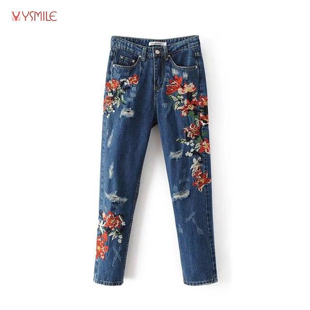 Młodzieńczy YSMILE Y Fajne Damskie Jeansy Z Kwiatami Haft Wysokiej Jakości YB48