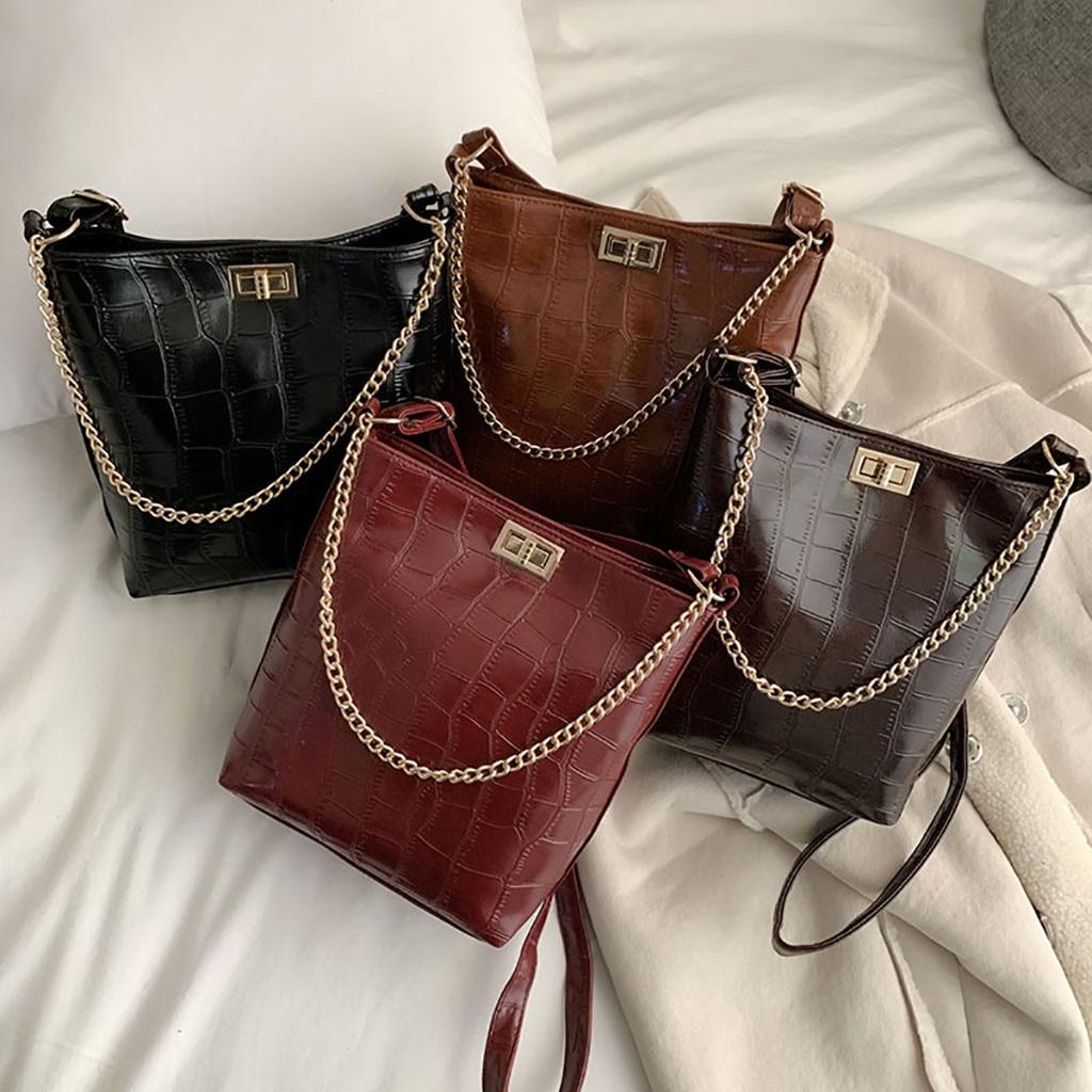 Womens Bags Bucket-Bag Messenger-Bag Vintage Versatile Shoulder Fashion Stone Pattern-Chains