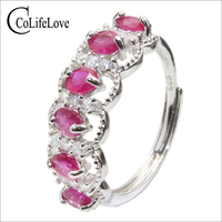 CoLife Jewelry 925 silver ruby ring for woman 6pcs natural ruby silver ring sterling silver ruby jewelry romantic gift for wife