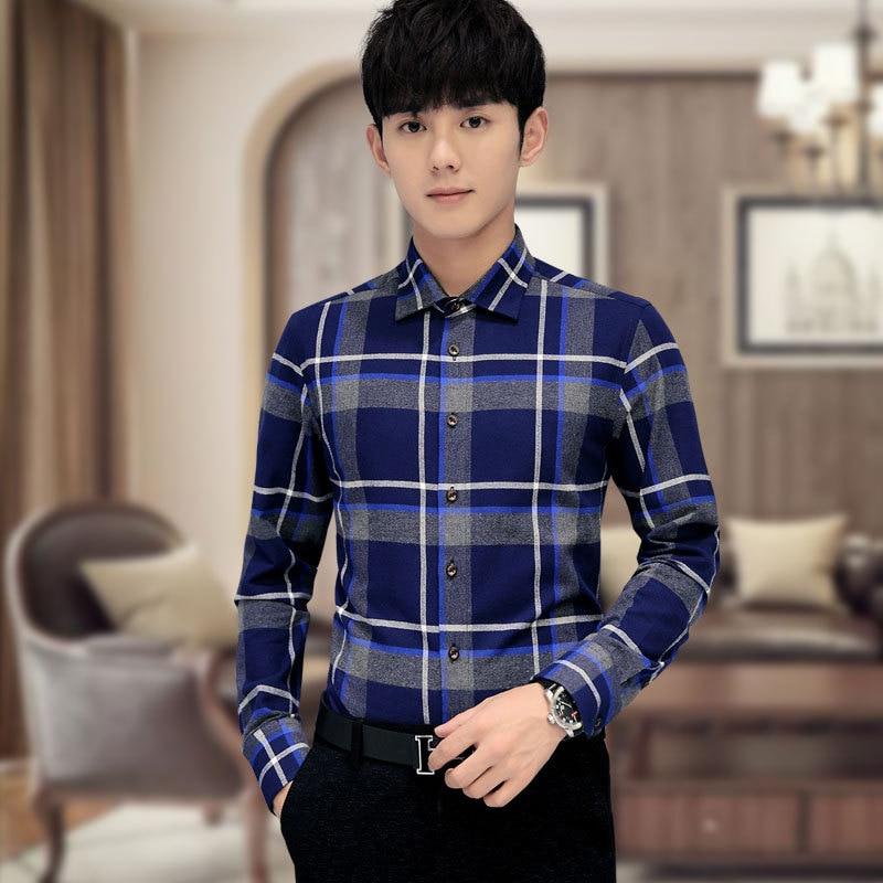 Mens Shirts Fashion 2016 Spring Autumn Plaid Checker Mens font b Tartan b font Shirts Long