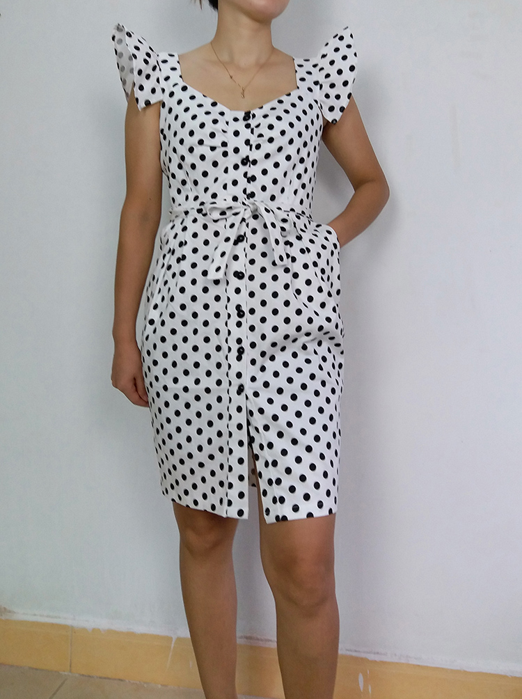 ALPHALMODA 18 New Polka Dot Shirt Pocket Dress Petal Sleeve Single Breasted Slim Sashes Women Fashion Summer Vestidos 2