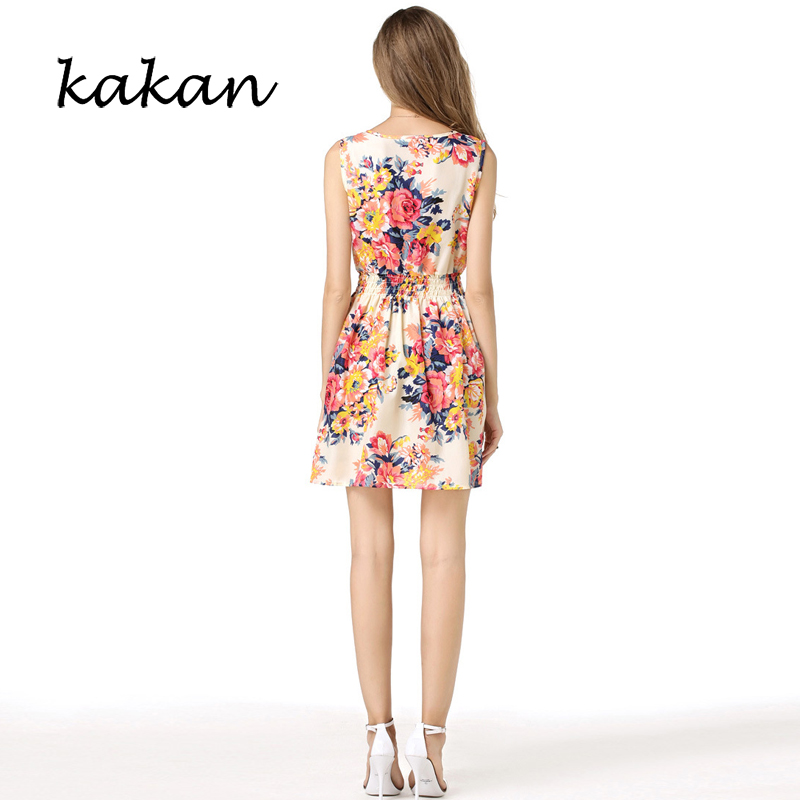 Kakan summer new hot women 39 s floral chiffon dress large size print sleeveless short dress fashion casual waist dress S 2XL in Dresses from Women 39 s Clothing