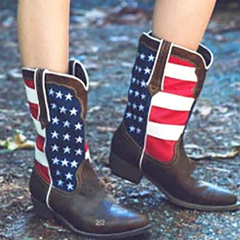 Heel Zapatos Café Invierno Grande Heel Moda 43 Bloque Pantorrilla Botas coffee Tacones 3cm Flock Tamaño Mujeres Negro Black Plataforma Vaquero Media PUwpI7qq