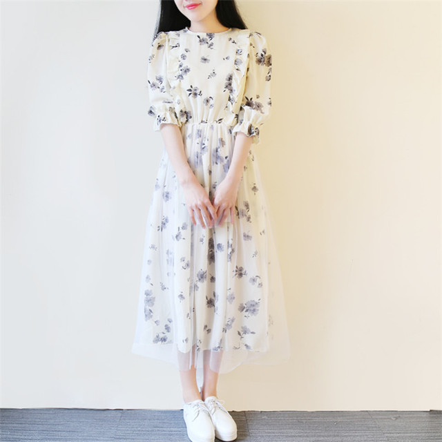 6efdd3446711 Summer new 2018 Korean version College style casual Mori girls Pastoral  style Floral temperament long dress half sleeve dress