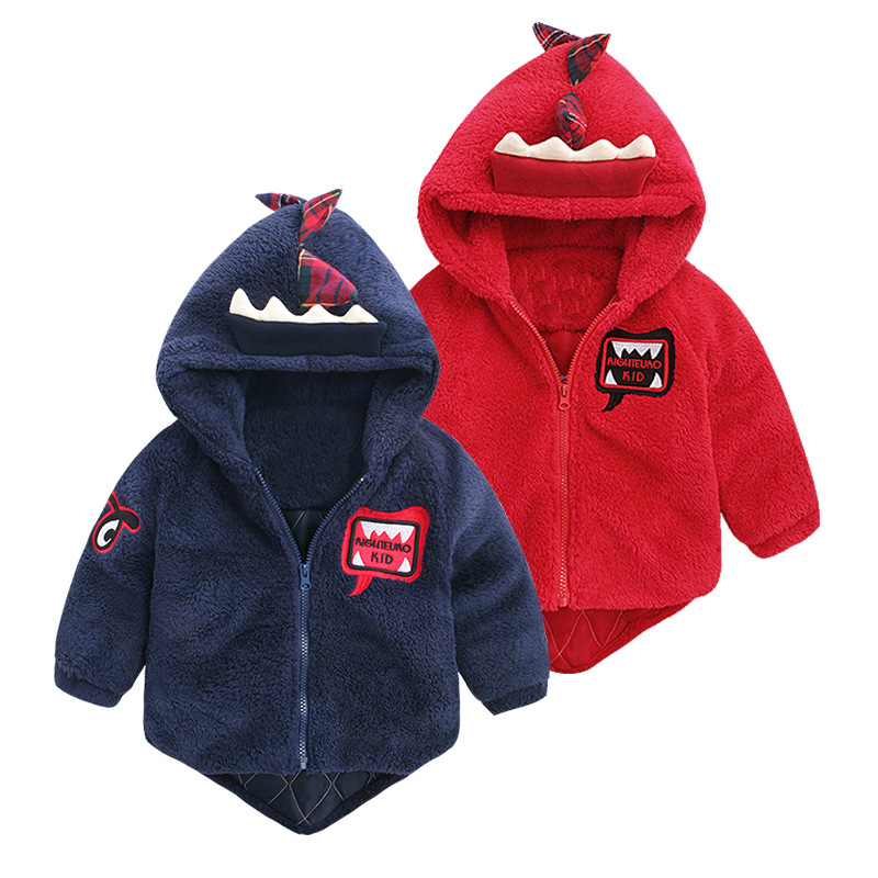 Autumn Winter Thick Coat Baby Cartoon Dinosaur Outerwear Kids ...