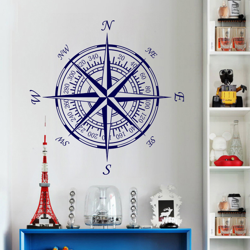 Free shipping diy wallpaper Compass wall murals Creative personality compass home decor