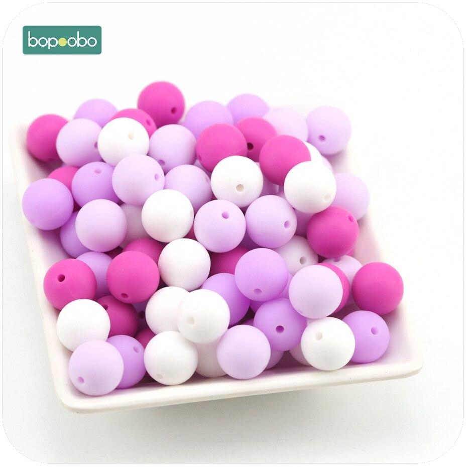 Bopoobo Silicone Teether Bead Food Grade Teething 15mm 10pc Purple Series Baby Bites Toys DIY Jewelry Beads Baby Teether
