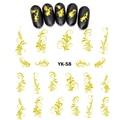 Водостойкие наклейки UPRETTEGO, металлические наклейки для ногтей, винтажные, с цветочным принтом, абстрактные, STRAMONIUM, лаванда, YK55-60
