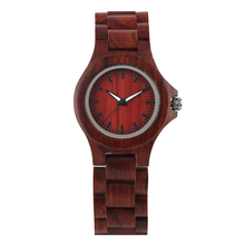 Womens Wood Wristwatch Red Sandalwood Watch for Female Luminous Quartz Watches