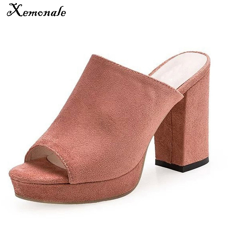 Xemonale 2017 Suede Gladiator Sandals Summer Sexy High Heels Platform Shoes Woman Slippers Slip On Pumps Casual Women Shoes 2017 suede gladiator sandals platform wedges summer creepers casual buckle shoes woman sexy fashion beige high heels k13w